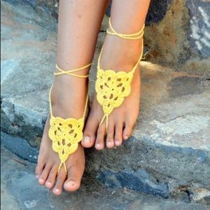 Accessories - NEW! Yellow crochet sandals/slippers